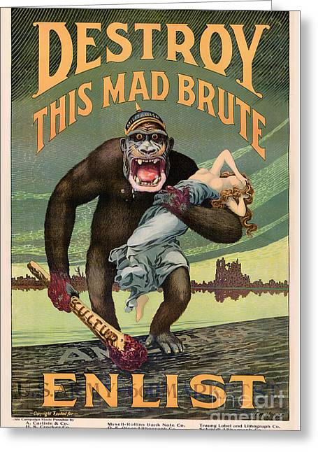 Wwi Greeting Cards - Destroy This Mad Brute - Restored Vintage Poster Greeting Card by Carsten Reisinger