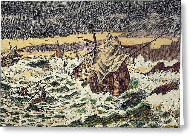 Destruction By Storms Of The Invincible Spanish Armada Greeting Card by Spanish School