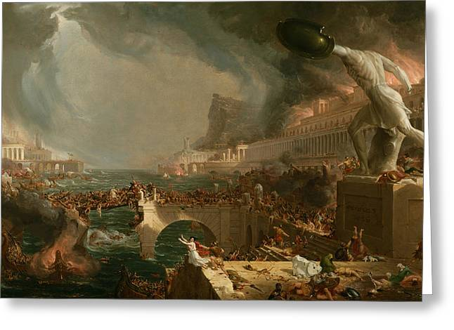 Ancient People Greeting Cards - Destruction  Greeting Card by Thomas Cole