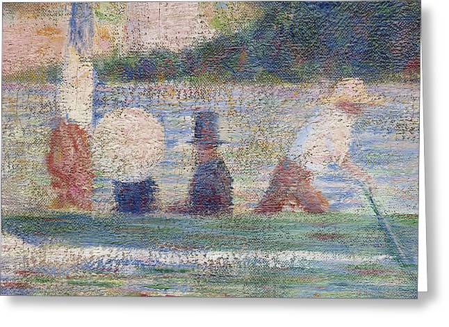 Seurat Greeting Cards - Detail from Bathers at Asnieres Greeting Card by Georges Pierre Seurat