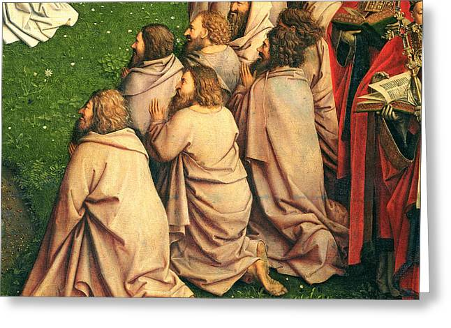 Mystic Paintings Greeting Cards - Detail from the Adoration of the Mystic Lamb Greeting Card by Van Eyck
