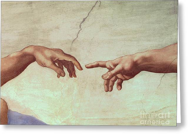 Hand Greeting Cards - Detail from The Creation of Adam Greeting Card by Michelangelo