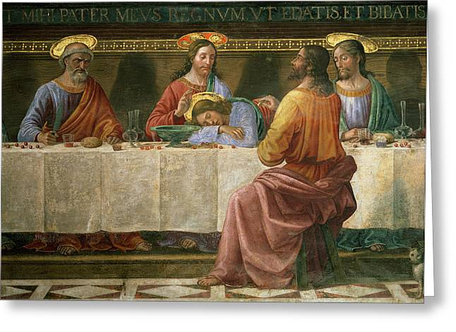 Close Up Paintings Greeting Cards - Detail from the Last Supper Greeting Card by Domenico Ghirlandaio
