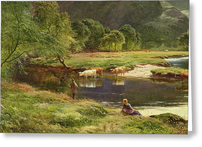 Detail Of A Highland Loch Scene Greeting Card by Sidney Richard Percy