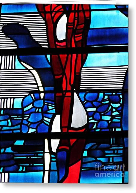 Detail Of A Stained Glass Window At St Boniface Church Greeting Card by Sarah Loft