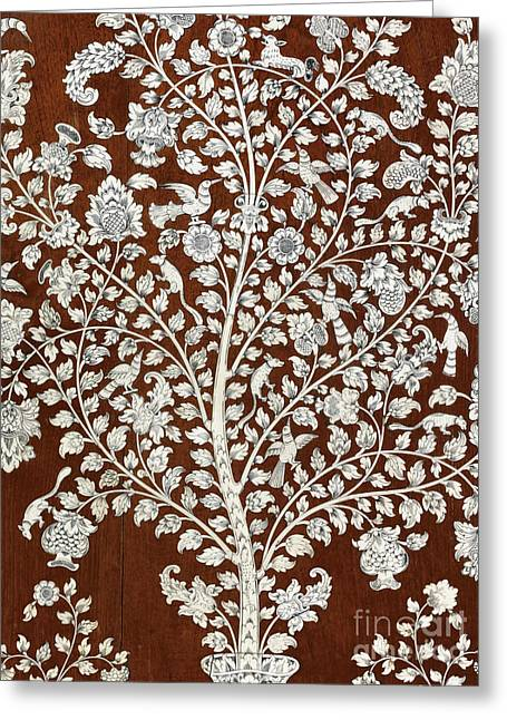 Detail Of A Vintage Botanical Pattern Greeting Card by Anglo Indian School