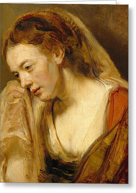 Weeping Greeting Cards - Detail of A Weeping Woman Greeting Card by Rembrandt