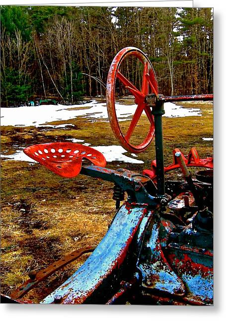 Steering Greeting Cards - Detail of Antique Tractor Greeting Card by Elizabeth Tillar