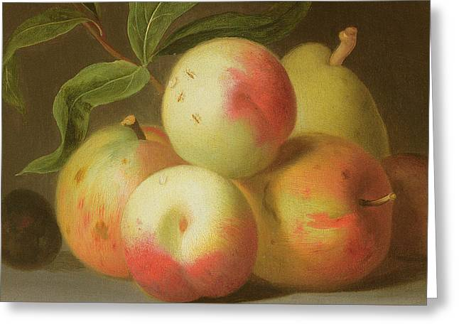 Detail Of Apples On A Shelf Greeting Card by Jakob Bogdany