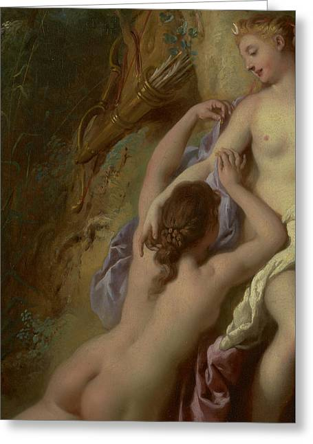 Female Body Greeting Cards - Detail of Diana and Her Nymphs Bathing Greeting Card by Jean Francois de Troy