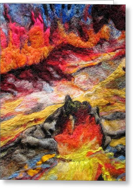 Hawaii Tapestries - Textiles Greeting Cards - Detail of Fire Greeting Card by Kimberly Simon