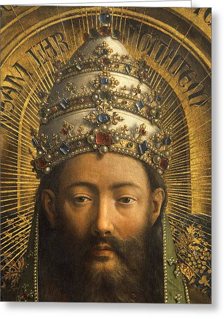 Crowned Head Greeting Cards - Detail of God the Father Greeting Card by Van Eyck