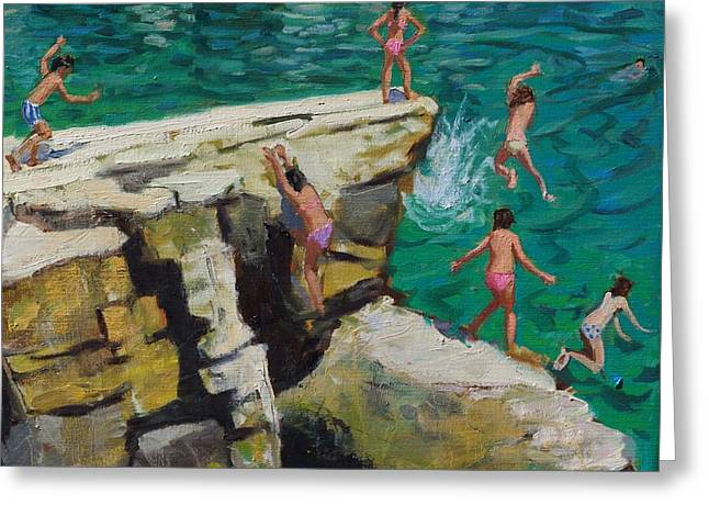 Kids Greeting Cards - Detail of Jumping into the sea Greeting Card by Andrew Macara