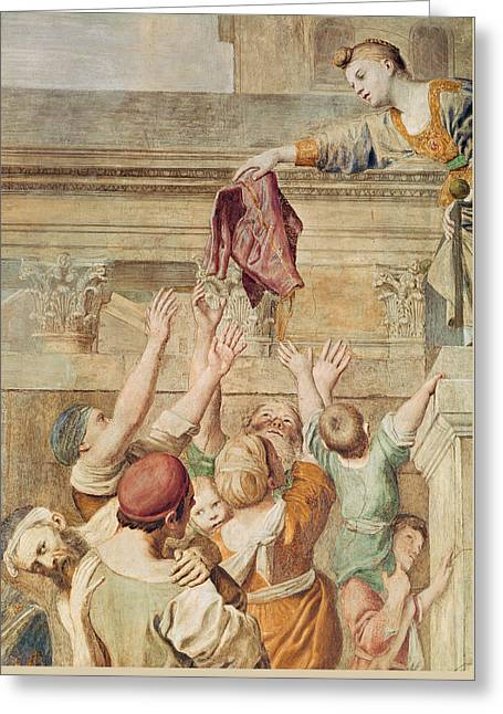 Stone Steps Greeting Cards - Detail of Saint Cecilia Distributing Alms Greeting Card by Domenichino