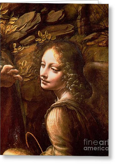 Face Greeting Cards - Detail of the Angel from The Virgin of the Rocks  Greeting Card by Leonardo Da Vinci