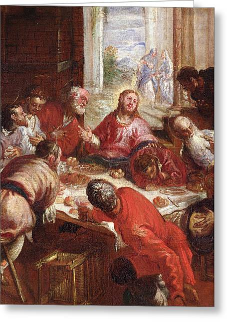 Dinner Table Greeting Cards - Detail of The Last Supper Greeting Card by Jacopo Robusti Tintoretto