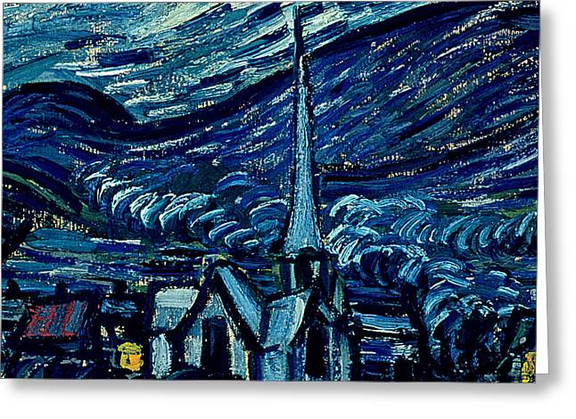 Provence Village Greeting Cards - Detail of The Starry Night Greeting Card by Vincent Van Gogh