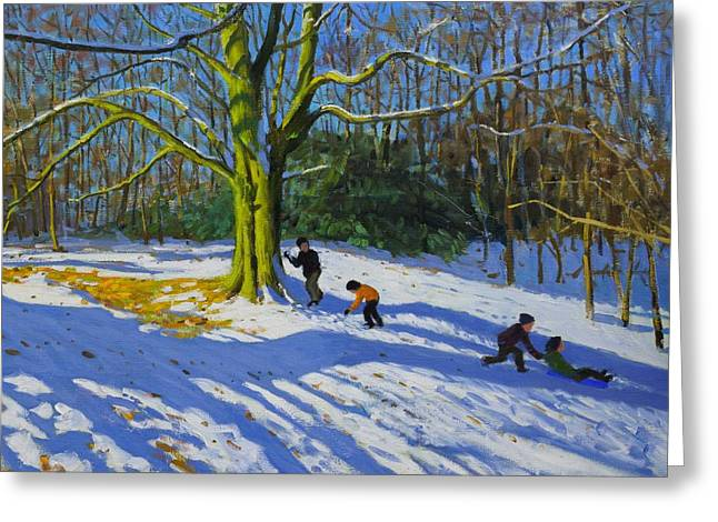 Detail Of Top Of Allestree Park Greeting Card by Andrew Macara