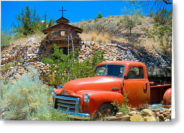 Rusted Cars Greeting Cards - Detail of Very Cool Old Red Truck in Santa Fe 1 Greeting Card by Tamara Kulish