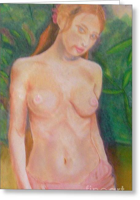 Photographs Pastels Greeting Cards - Detail of Yolande Greeting Card by Neil Trapp