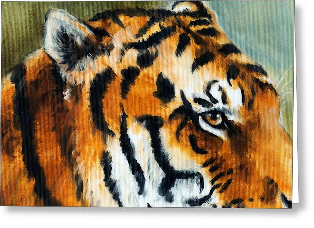 Royal Art Greeting Cards - Detail tiger head on a soft toned abstract background Greeting Card by Jozef Klopacka