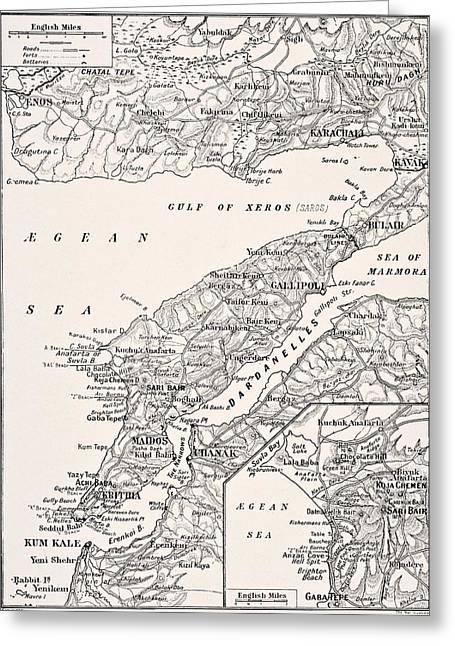 Anzac Greeting Cards - Detailed Map Of Gallipoli Peninsula And Greeting Card by Vintage Design Pics