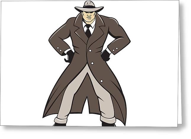 Detective Trenchcoat Hands Akimbo Cartoon Greeting Card by Aloysius Patrimonio