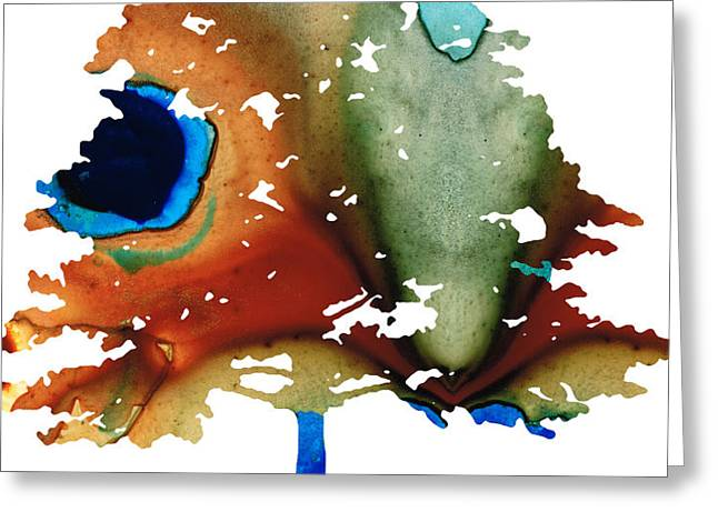 Determination - Colorful Cat Art Painting Greeting Card by Sharon Cummings