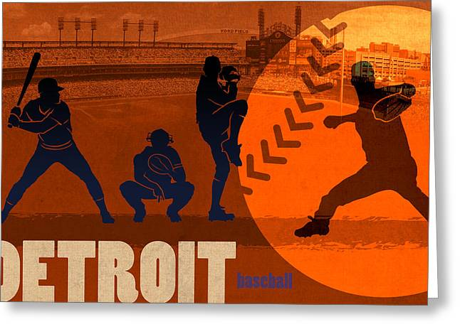 Baseball Art Greeting Cards - Detroit Baseball Team City Sports Art Greeting Card by Design Turnpike