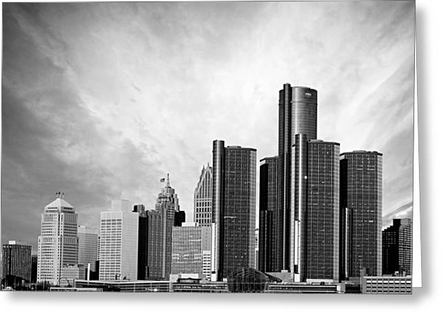 Ren Cen Greeting Cards - Detroit Black and White Skyline Greeting Card by Alanna Pfeffer