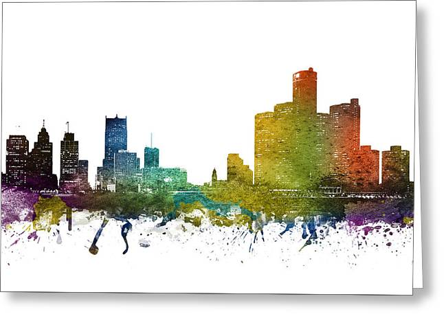 Rainbows Drawings Greeting Cards - Detroit cityscape 01 Greeting Card by Aged Pixel