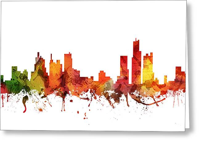 Michigan Drawings Greeting Cards - Detroit Cityscape 04 Greeting Card by Aged Pixel