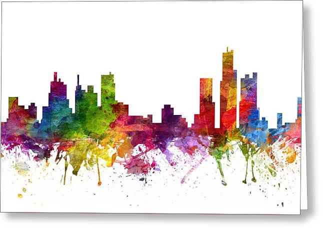 Michigan Drawings Greeting Cards - Detroit Cityscape 06 Greeting Card by Aged Pixel