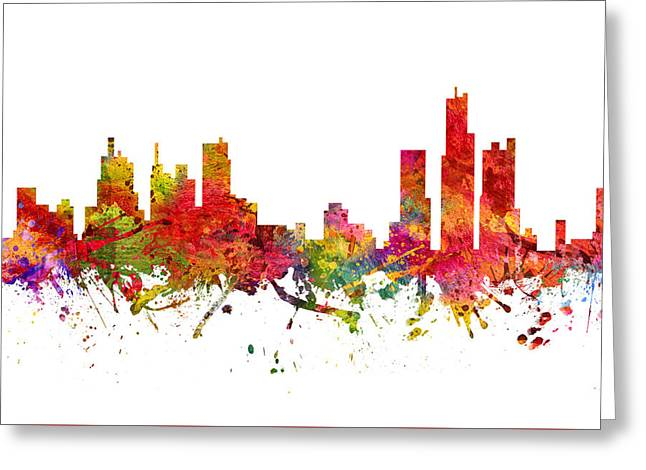 Michigan Drawings Greeting Cards - Detroit Cityscape 08 Greeting Card by Aged Pixel