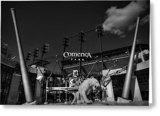 Baseball Stadiums Greeting Cards - Detroit - Comerica Park 001 BW Greeting Card by Lance Vaughn