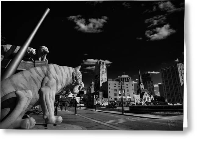 Baseball Stadiums Greeting Cards - Detroit - Comerica Park 002 BW Greeting Card by Lance Vaughn