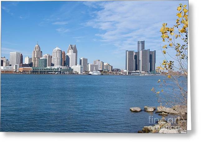 Greeting Cards - Detroit from Windsor Greeting Card by Ann Horn