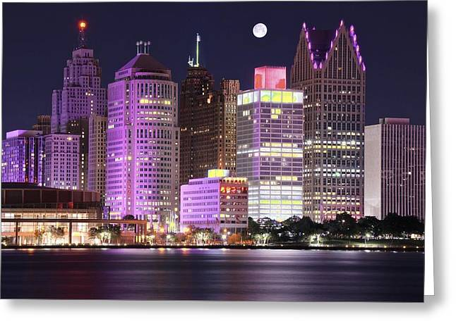 The Tiger Greeting Cards - Detroit Full Moon Greeting Card by Frozen in Time Fine Art Photography