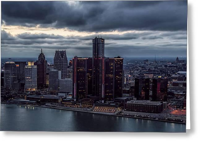 Detroit Gotham Greeting Card by Pat Eisenberger