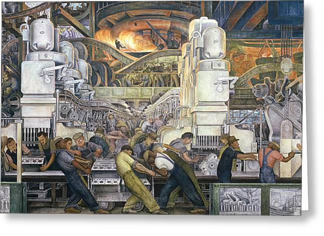 City Scenes Paintings Greeting Cards - Detroit Industry   North Wall Greeting Card by Diego Rivera