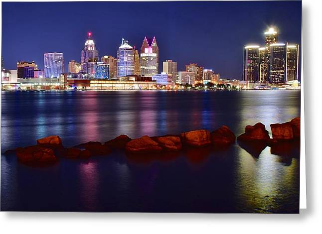 River View Greeting Cards - Detroit Lights Greeting Card by Frozen in Time Fine Art Photography