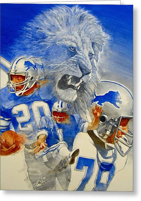 Detroit Lions Game Day Cover Greeting Card by Cliff Spohn