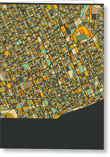 Abstract Map Greeting Cards - Detroit Map Greeting Card by Jazzberry Blue