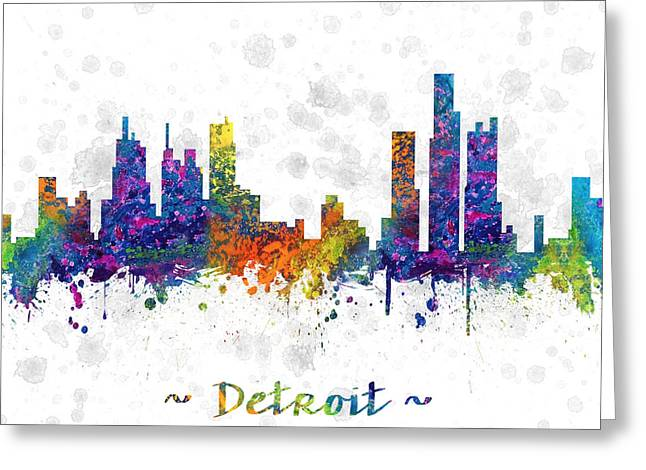 Michigan Drawings Greeting Cards - Detroit Michigan color 03SQ Greeting Card by Aged Pixel
