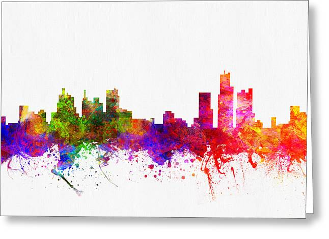 Detroit Digital Art Greeting Cards - Detroit Michigan skyline Color02 Greeting Card by Aged Pixel