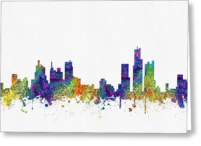 Detroit Digital Art Greeting Cards - Detroit Michigan skyline color03 Greeting Card by Aged Pixel