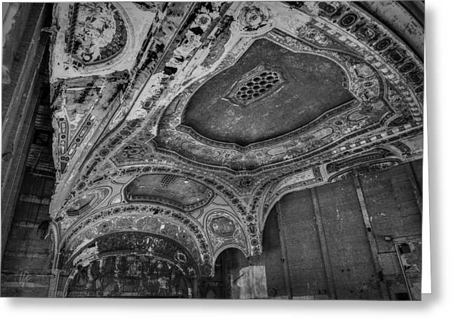 Theater Greeting Cards - Detroit - Michigan Theatre 001 BW Greeting Card by Lance Vaughn