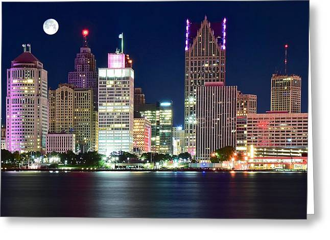 Detroit Night Greeting Card by Frozen in Time Fine Art Photography