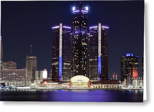 Historical Buildings Greeting Cards - Detroit Nights Greeting Card by Frozen in Time Fine Art Photography