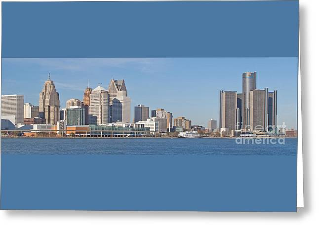 Greeting Cards - Detroit Panorama Greeting Card by Ann Horn